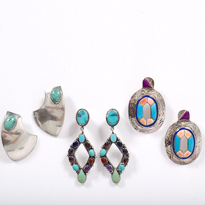 Navajo Silver Earrings with Colorful Stones