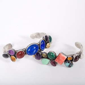 Navajo Sterling Bracelets with Semi-Precious Stones