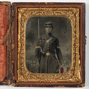 Civil War Sixth Plate Tintype of Armed Soldier