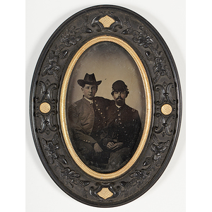 Sixth Plate Tintype of Union Officers, Housed in Thermoplastic Frame