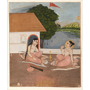Indian Mughal Miniature Painting of Female Aesthetic