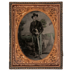 Civil War Quarter Plate Tintype of a Soldier Armed with Sword & Revolver