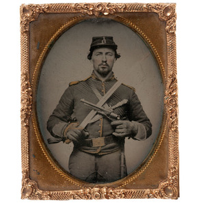 Civil War Ninth Plate Tintype of a Triple Armed Soldier