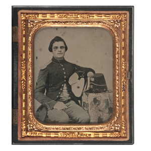 Sixth Plate Ambrotype of a Soldier Posed with his Shako