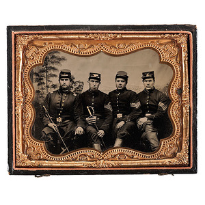 Civil War Quarter Plate Tintype of Four Union Officers