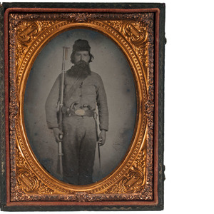 Quarter Plate Ambrotype of Soldier, Possibly Confederate, Armed with Percussion Derringer Pistols