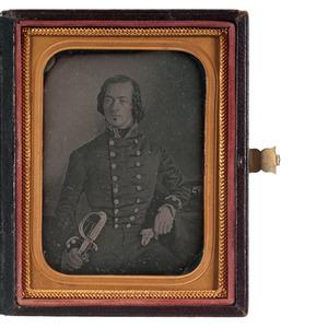 Quarter Plate Daguerreotype of British Royal Navy Officer Posed with Eagle Pommel Presentation Officer's Sword