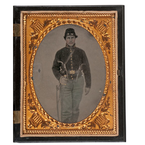 Civil War Quarter Plate Tintype of a Heavily Armed Private