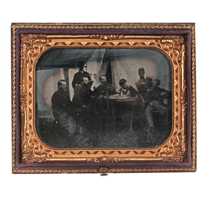 Quarter Plate Tintype and Albumen Enlargement of a Union Camp Scene, Including African Americans