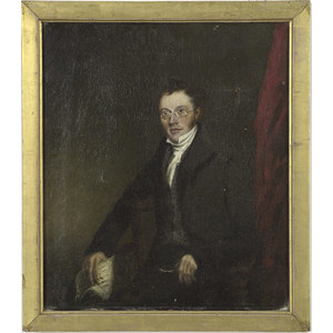 Oil on Canvas Portrait of a Gentleman in Spectacles,