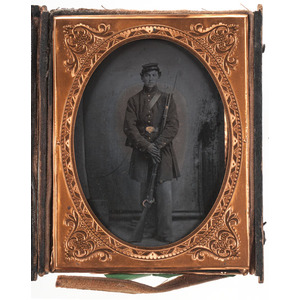 Quarter Plate Tintype of Armed Civil War Soldier