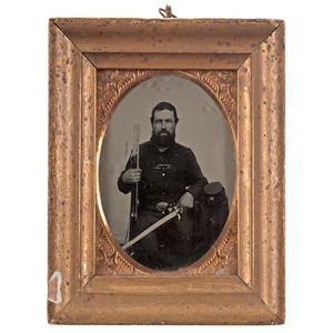 Civil War Quarter Plate Tintype of Double Armed Soldier