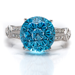 Ladies Contemporary Blue Topaz and Diamond Ring