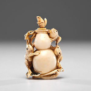 Fine Meiji Period Japanese Ivory Bottle with Frogs