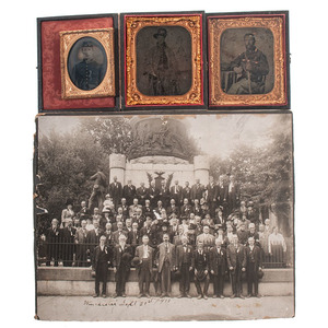 Civil War Cased Images, Including Identified Pennsylvania Soldier and Panotype, Plus Post-War Veteran's Reunion Photograph