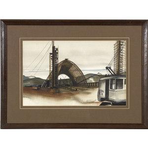 Fine Watercolor of the Goodyear Blimp Hangar,
