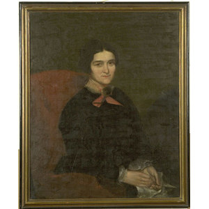 Portrait of a Lady in a Red Chair Attirbuted to James Lambdin,