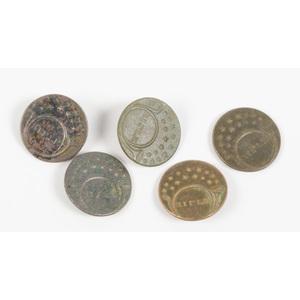 US War of 1812 Rifleman's Buttons, Lot of Five