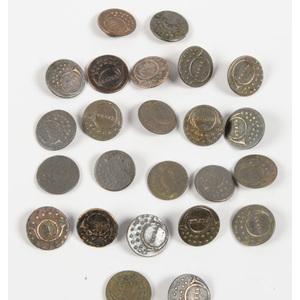US War of 1812 Small Rifleman's Buttons, Lot of Twenty-Four