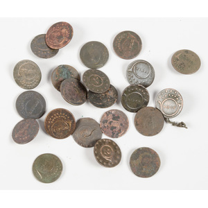 US War of 1812 Rifleman's Buttons, Lot of Twenty-Two