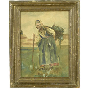 Anonymous Watercolor of a Peasant Woman,