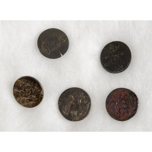 US War of 1812 Rifleman's and Corps Buttons, Lot of Five