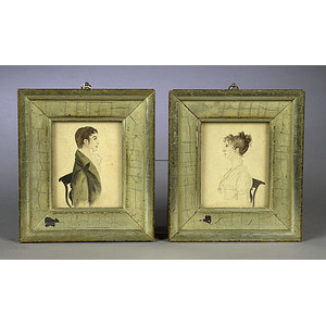 Pair of Watercolor Miniature Portraits,