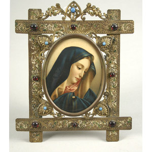 Celo Portrait of Madonna in Ornate Jeweled Frame,