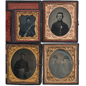 Civil War Soldiers, Group of 4 Cased Images