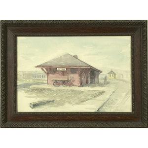 Watercolor of a Rittman, Ohio Train Station signed E.L. COTTRILL,