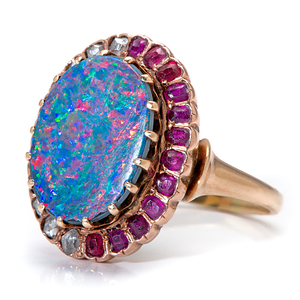 Ladies Opal Doublet Ring with Diamonds and Rubies