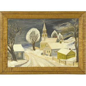 Erwin Blau Folk Art Oil on Board,