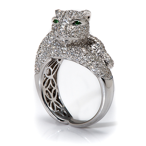 Ladies Cartier-Style Panther Ring with Emerald Eyes