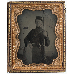 Quarter Plate Tintype of Soldier Armed with Musket and Wearing US Belt