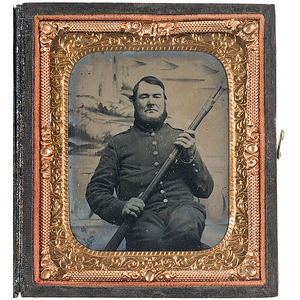 Civil War Sixth Plate Ambrotype of a Soldier Clutching His Musket