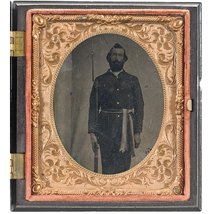 Civil War Sixth Plate Tintype of a Soldier Armed with Musket and Bayonet