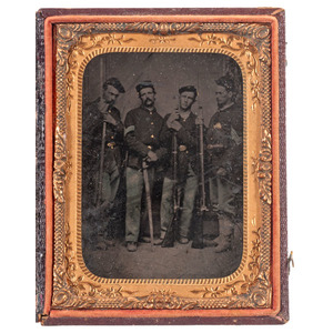 Civil War Quarter Plate Tintype of Four Armed Soldiers