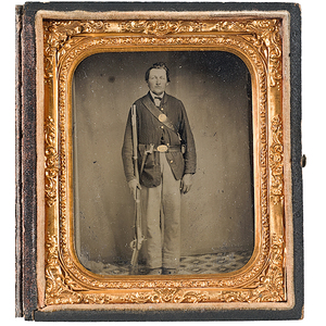 Civil War Sixth Plate Tintype of an Armed Private
