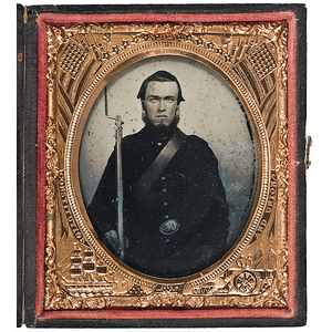 Civil War Sixth Plate Ruby Ambrotype of an Armed Soldier