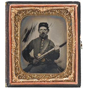 Civil War Sixth Plate Tintype of an Armed Soldier