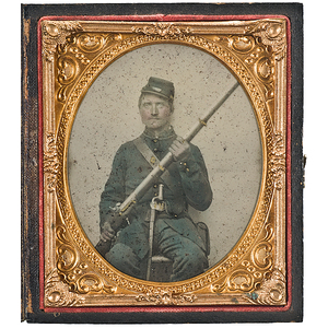 Civil War Sixth Plate Ambrotype of Matthew Frank, 108th Illinois Infantry