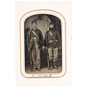 Civil War Tintype of Two Armed Soldiers