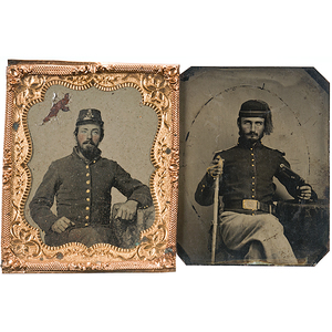 Civil War, Sixth Plate Tintypes of Soldiers, One Armed with Pistol & Sword