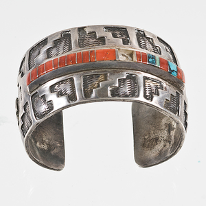 Wilson Begay Navajo Cuff with Coral and Turquoise Inlay