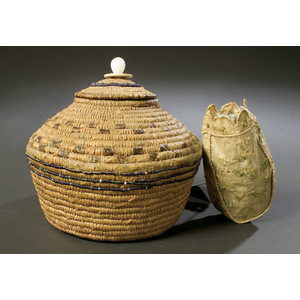Eskimo Lidded Basket  and  Seal Gut Pouch,