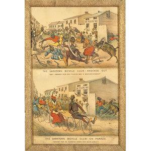 Currier & Ives Darktown Bicycle Club Prints,