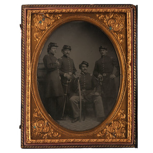 Half Plate Tintype of Four Union Officers