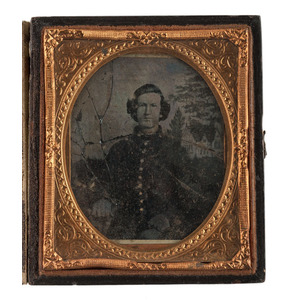 Sixth Plate Ambrotype of Confederate Soldier, With Gabled House Backdrop Noted in Many North Carolina Images