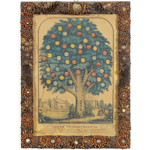 Folk Art Seed Decorated Frame with Tree of Temperance Print,