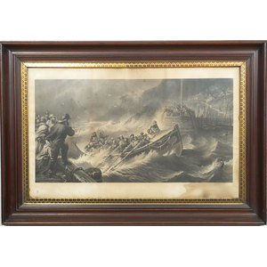 Pair of Early Walnut Moulded Frames with Sea Rescue Engravings,